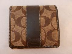 """Coach Wallet Tan & Brown Jacquard """"C"""" Print Leather Trim Bi-fold w/ Coin Pocket"""