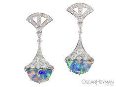 Platinum Opal Diamond Earrings by Oscar Heyman