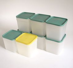New to LaurasLastDitch on Etsy: Square Plastic Freezer Containers Yellow & Green Lids Vintage 1970s Kitchen Quart Size (19.99 USD)