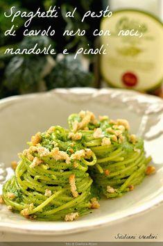Ideas For Pasta Ricette Invernali Best Pasta Recipes, Pasta Dinner Recipes, Kale Recipes, Pasta Salad Recipes, Vegetarian Recipes, Pasta Al Pesto, Kale Pesto, Spaghetti Squash Pasta, Homemade Pasta