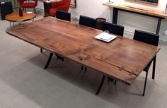 I really love this walnut top, but not the scissor base.
