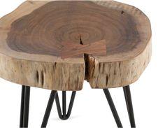 BORA - Table d'appoint en bois d'acacia massif - Naturel