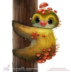 Daily Painting Sloth Butts - Mushrooms by Cryptid-Creations on DeviantArt Cute Animal Drawings, Kawaii Drawings, Cute Drawings, Cute Creatures, Fantasy Creatures, Animal Puns, Cute Sloth, Painted Books, Creature Design
