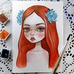 Illustration Art Girl Sketchbooks Pencil New Ideas Girl Watercolor, Watercolor Postcard, Art And Illustration, Summer Drawings, Concept Art Tutorial, Animal Art Projects, Donia, Sad Art, Doodle Sketch