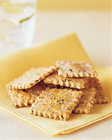 Flaxseed and onion crackers go well with all kinds of cheeses; try them with Brie or manchego. Store them in an airtight container at room temperature for up to two weeks. Tapas, Homemade Crackers, Healthy Crackers, Salty Snacks, No Calorie Snacks, Food Porn, Dessert For Dinner, Martha Stewart, The Best