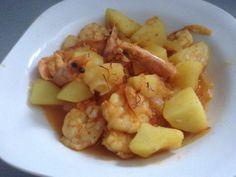 Guisote de langostinos y patatas