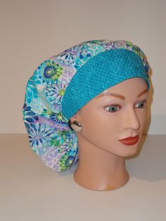 The Perfect Sized Bouffant Scrub Hat...Turquoise/Blue/Purple  Floral Print…