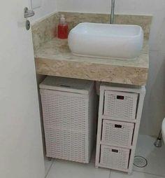 Banheiro / via Instagram Home Room Design, Diy Bathroom, Space Saving Bathroom, Wc Ideas, Small Bathroom Decor, Home Decor, House Interior Decor, Living Room Tv Unit Designs, Bathroom Decor