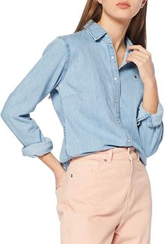 Tolles, leichtes Jeanshemd.  Bekleidung, Damen, Tops, T-Shirts & Blusen, Blusen & Tuniken Shirt Bluse, S Shirt, Denim Button Up, Button Up Shirts, Tommy Hilfiger Damen, Jeans, Blouses For Women, Elegant, Tops