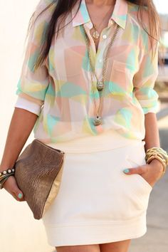Perfect spring outfit, mint, peachy/pink top & cream colored skirt, with gold jewelry.