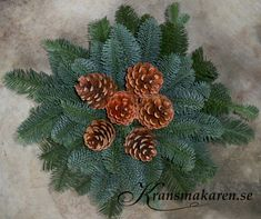 Liggande gravdekoration med 6 kottar Outdoor Christmas Tree Decorations, New Years Decorations, Ikebana, Cactus Plants, Diy And Crafts, Merry, Projects, Painting, Gardens