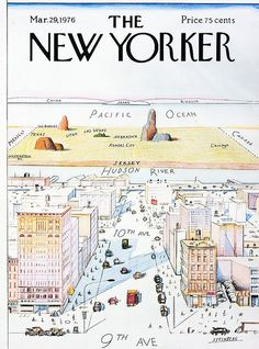 Steinberg. Such a classic.A cover for THE NEW YORKER, A #TRUE#NEWYORKER 's view of the world! Ours was a framed poster!