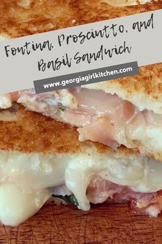 This Fontina, Prosciutto, and Basil Sandwich is an easy, delicious lunch!  Salty prosciutto, creamy fontina, and flavorful basil all grilled to perfection.  #georgiagirlkitchen #lunchideas #lunchrecipe #sandwichrecipes #sandwich Sandwiches For Lunch, Delicious Sandwiches, Delicious Dinner Recipes, Sandwich Recipes, Lunch Recipes, Summer Recipes, Sandwich Ideas, Grilled Artichoke, How To Make Sandwich