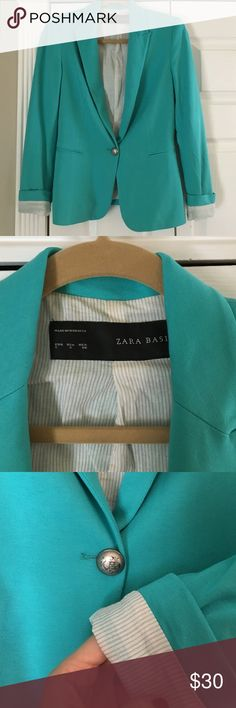 Zara blazer Blogger favorite Zara jersey single button blazer. Can be worn with sleeves rolled or unrolled. Adorable pin stripe lining. Gorgeous Aqua. Worn once. Looks great with jeans. Size small. Purchased in Zara Miami for full price Zara Jackets & Coats