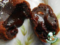 Шоколадное горячее пирожное с жидкой начинкой  ...Шоколад черный— 40 г Масло сливочное— 40 г Яйцо— 1 шт Сахар— 30 г Мука пшеничная— 1 ст. л. Коньяк(или бренди, по желанию)