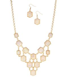 $12.99 This Light Pink & Goldtone Bib Necklace & Drop Earrings is perfect! #zulilyfinds