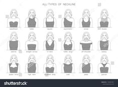 Different types of necklines for dresses. All types of neckline. Types Of Necklines Dresses, Types Of Dresses Styles, Different Types Of Dresses, Fashion Design Drawings, Fashion Sketches, Dress Design Drawing, Unicorn Illustration, Fashion Terms, Neckline Designs