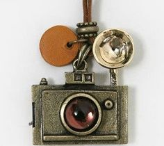 Vintage Camera Leather Chain Necklace