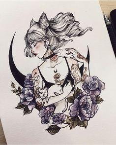 Tattoo girl drawing anime art ideas Tattoo girl drawing anime art ideas This image has get. Inspiration Art, Art Inspo, Anime Kunst, Anime Art, Drawing Sketches, Art Drawings, Girl Tattoos, Tattoo Girls, Pet Tattoos