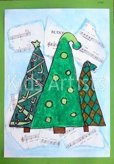 Kids artists: christmas winter trees, winter art, tree collage, christmas p Christmas Art Projects, Christmas Tree Art, Christmas Arts And Crafts, Winter Art Projects, School Art Projects, Kids Christmas, School Ideas, Christmas Decor, Artists For Kids