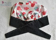 Mundo Encantado da Miih: PAP - Touca Cozinheiro Scrub Hat Patterns, Hat Patterns To Sew, Love Sewing, Baby Sewing, Turbans, Freehand Machine Embroidery, Hat Tutorial, Bazaar Ideas, Scrub Hats