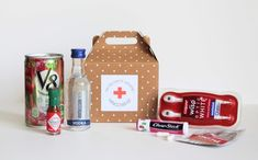 Bachelorette Party Hangover Kit...great idea except mine would be without the mini bloody mary mix.
