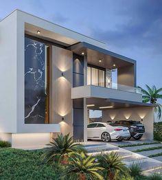 Modern Bungalow Exterior, Modern House Facades, Modern Exterior House Designs, Dream House Exterior, Modern House Plans, Exterior Design, Facade Design, Best Modern House Design, Bungalow House Design