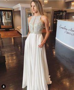 9a9c6d7de7714 White Chiffon Long Prom Dress Formal Dress Party Dress 2019 on Luulla