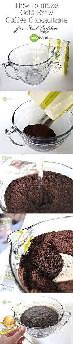 How to make cold brew coffee concentrate for iced coffees - the secret to non-bitter iced coffee!   visit I Gotta Create!