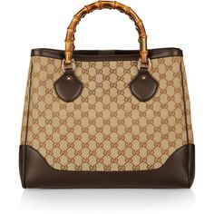 Gucci Monogram canvas and leather tote ($1,475) ❤ liked on Polyvore featuring bags, handbags, tote bags, purses, bolsas, borse, purse tote, leather totes, canvas leather tote bag and leather hand bags