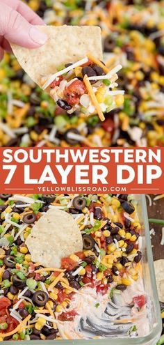 Southwestern 7 Layer Dip - Layers of kicked up tomatoes, black beans and corn on top of a spicy, cream cheese base. This is the appetizer you'll want to bring to every party! via @yellowblissroad