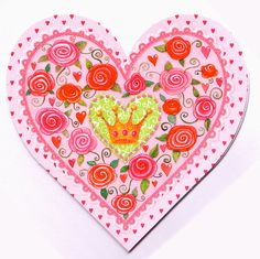 ♥ A heart shaped folded card designed by Mila Marquis.    ♥ Partially refined with glitter.    ♥