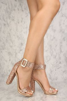 b32056e228c7 Sexy Rose Gold Chunky Heel Platform Pump Open Toe High Heels Glitter