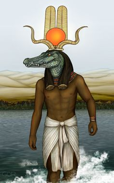 Sobek - the god of the Nile and a crocodile god; depicted as a crocodile on an altar or as a man with a crocodile head wearing a headdress in the form of the sun disk with upright feathers and horns