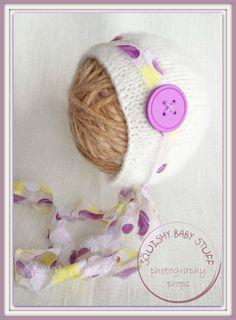 Cute as a Button, Baby Classic Bonnet with detachable Tieback, Choose color, Newborn hat, 0-3 month, 6 month, 12 month bonnet, Photo Prop on Etsy, $20.00