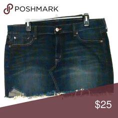 Jean Mini Skirt Denim Supply by Ralph Lauren Jean mini skirt with destructed mild fringed bottom. Great condition. Stone blue wash. Ralph Lauren Denim Supply Skirts Mini