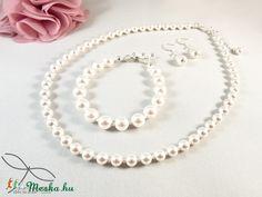 Meska - Egyszerű gyöngysor esküvőre Swarovski gyöngyből Edina09 kézművestől Pearl Necklace, Pearls, Jewelry, Fashion, Moda, String Of Pearls, Bijoux, Jewlery