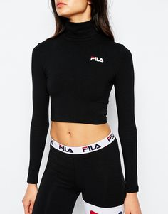 Image 3 of Fila Cropped Roll Neck Long Sleeve Top With Small Logo