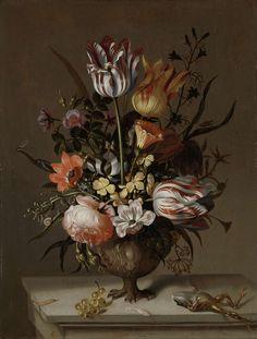 Stilleven met bloemvaas en dode kikvors, Jacob Marrel, 1634