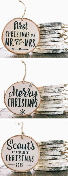 Rustic Birch Wood Ornaments ❤︎ More And babies first Xmas First Christmas Ornament, Babies First Christmas, Rustic Christmas, All Things Christmas, Christmas Signs, Christmas Holidays, Christmas Decorations, Handmade Christmas, Christmas Projects