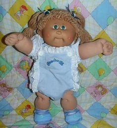 Vintage Cabbage Patch Kids Girl Blue Sun Suit Tan Poodle Hair Green Eyes | eBay