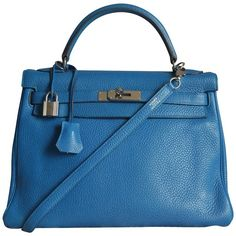 Pre-owned Kelly 32 Blue Izmir (€9.300) ❤ liked on Polyvore featuring bags, handbags, shoulder bags, blue, blue leather handbags, blue purse, leather bags, genuine leather purse and leather purses