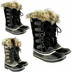 Womens Sorel Joan Of Artic Fur Collar Lace Suede Snow Winter Boot US Sizes 5-10