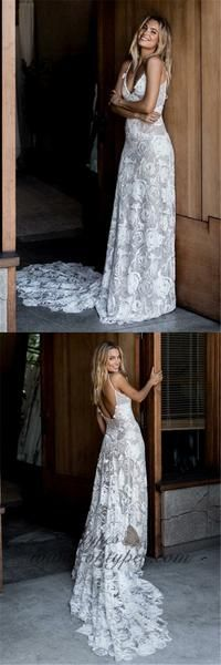 ebdd493690b2 A-Line Spaghetti Straps Court Train Ivory Backless Lace Wedding Dresses,  TYP1372 #weddingdresses