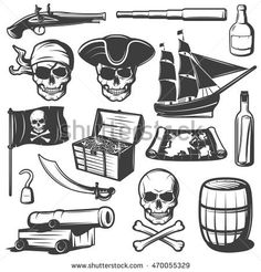 Pirates icon set with skulls treasures and pirate weapons black and isolated vector illustration