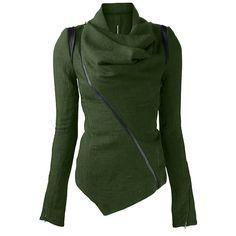 $18.99 Stylish Cowl Neck Long Sleeve Zippered Women's Leather Trim Jacket