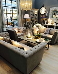 Buttoned sofas Roomset
