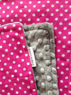 Minky and cotton baby baby blanket silver grey and hot pink with white dots polka dot crib stroller bedding bed girl on Etsy, $45.00