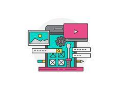 Modern vector illustration concept of Ui & Ux Design