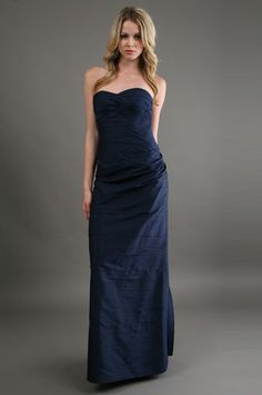 The Dupioni Strapless Dress in Blue by Phoebe Couture at CoutureCandy.com